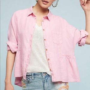 NWT Anthro Holding Horses pink linen blouse